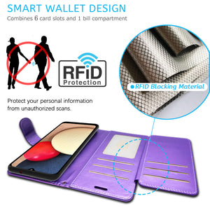 Samsung Galaxy A02s Wallet Case - RFID Blocking Leather Folio Phone Pouch - CarryALL Series