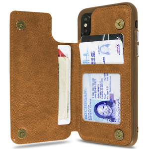 iPhone XS / iPhone X Wallet Case Premium Vegan Leather Credit Card Holder Phone Cover - DayTripper Series