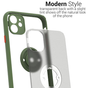 iPhone 11 Case - Clear Tinted Metal Ring Phone Cover - Dynamic Series