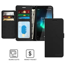 Load image into Gallery viewer, Nokia C2 Tava / C2 Tennen Wallet Case - RFID Blocking Leather Folio Phone Pouch - CarryALL Series