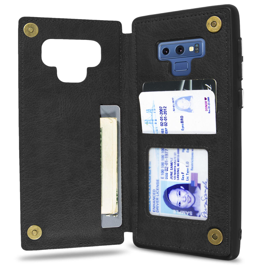 Samsung Galaxy Note 9 Wallet Case Premium Vegan Leather Credit Card Holder Phone Cover - DayTripper Series