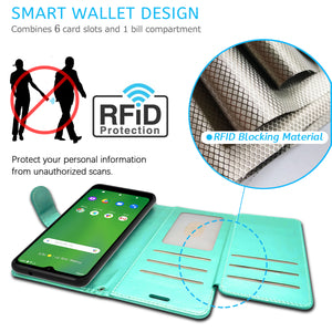 Cricket Ovation / AT&T Radiant Max Wallet Case - RFID Blocking Leather Folio Phone Pouch - CarryALL Series