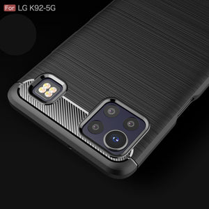 LG K92 5G Slim Soft Flexible Carbon Fiber Brush Metal Style TPU Case