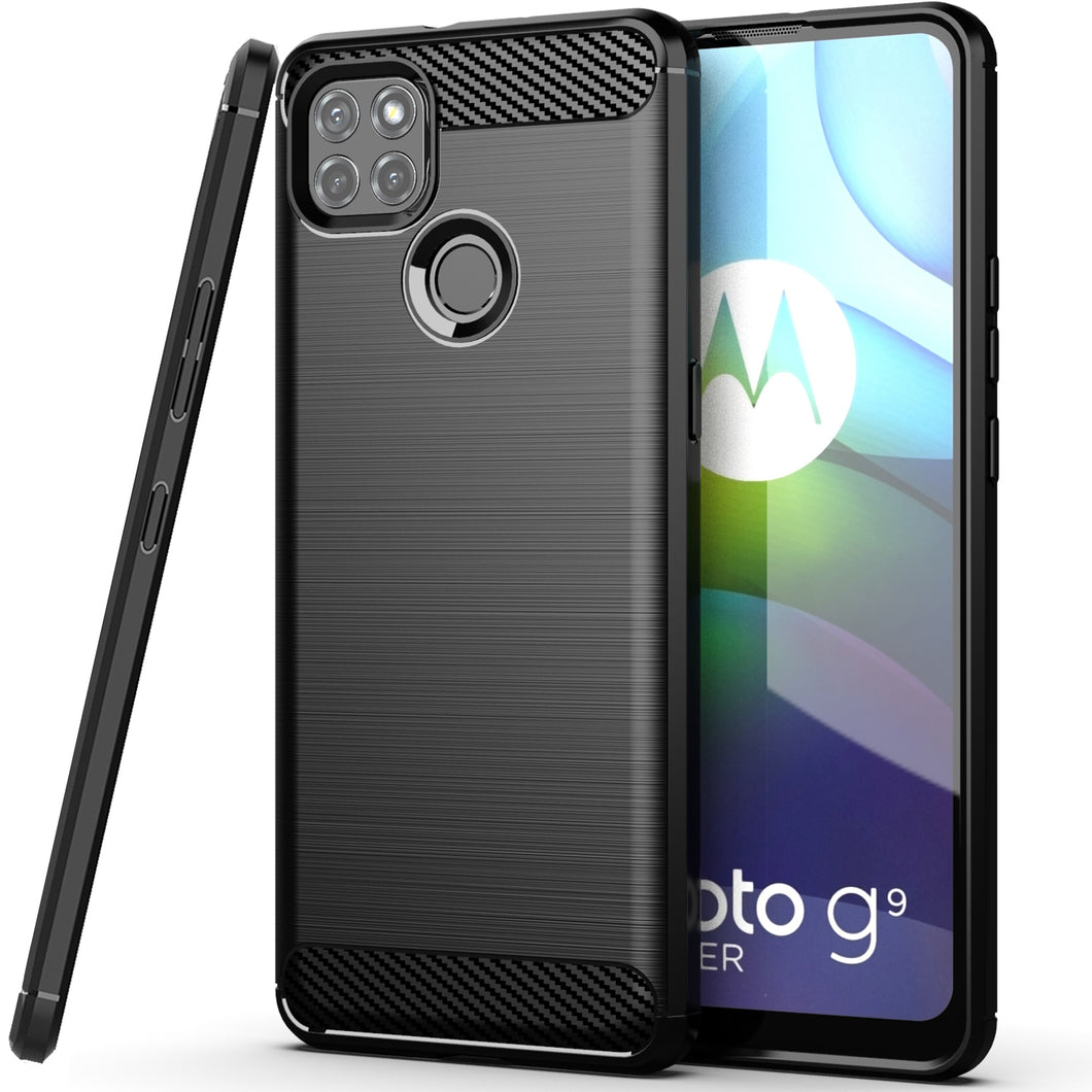 Motorola Moto G9 Power Slim Soft Flexible Carbon Fiber Brush Metal Style TPU Case