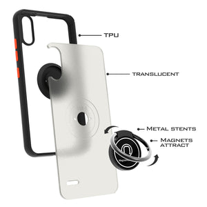 LG K22 / K22+ Plus / K32 Case - Clear Tinted Metal Ring Phone Cover - Dynamic Series