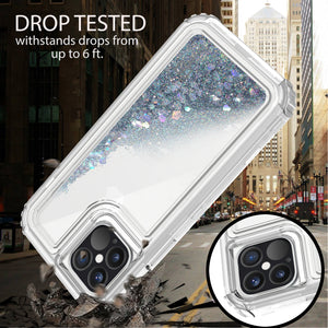 Apple iPhone 12 / iPhone 12 Pro Clear Liquid Glitter Case -  Full Body Tough Military Grade Shockproof Phone Cover