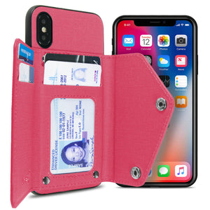 iPhone XS / iPhone X Wallet Case Pocket Pouch Credit Card Holder Fabric-Backed Phone Cover - Pocket Pouch Series