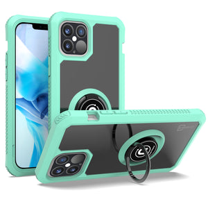 Apple iPhone 12 / iPhone 12 Pro Case - Clear Tinted Metal Ring Phone Cover - Dynamic Series