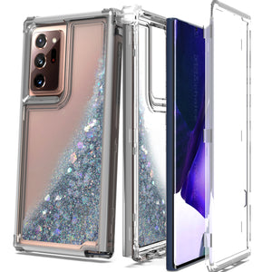 Samsung Galaxy Note 20 Ultra Clear Liquid Glitter Case -  Full Body Tough Military Grade Shockproof Phone Cover