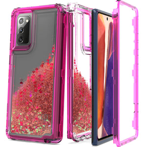 Samsung Galaxy Note 20 Clear Liquid Glitter Case -  Full Body Tough Military Grade Shockproof Phone Cover