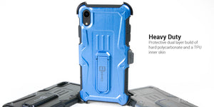 iPhone XR Holster Case Spectra Series Protective Kickstand Phone Cover with Rotating Belt Clip