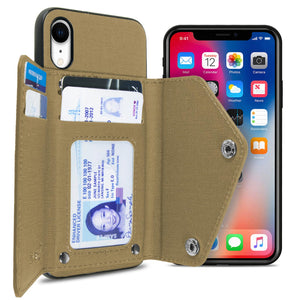 iPhone XR Wallet Case Pocket Pouch Credit Card Holder Fabric-Backed Phone Cover - Pocket Pouch Series