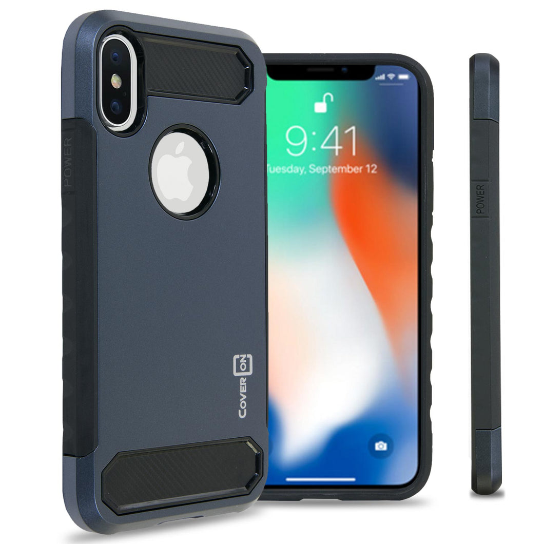 iPhone XS / iPhone X Case - Hybrid Phone Cover with Carbon Fiber Accents - Arc Series