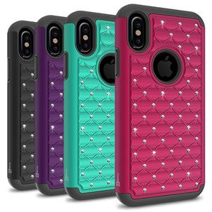 iPhone XS / iPhone X Case - Rhinestone Bling Hybrid Phone Cover - Aurora Series