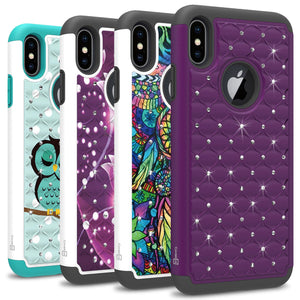 iPhone XS Max Case - Rhinestone Bling Hybrid Phone Cover - Aurora Series