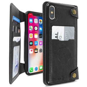 iPhone XS Max Wallet Phone Case, Vegan Leather Phone Cover with Detachable Credit Card Holder, Car Mount Compatible - Scout Series