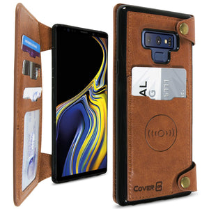 Samsung Galaxy Note 9 Wallet Phone Case, Vegan Leather Phone Cover with Detachable Credit Card Holder, Car Mount Compatible - Scout Series