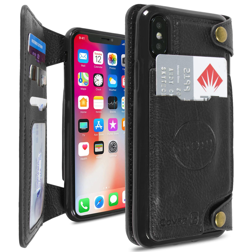 iPhone XS / iPhone X Wallet Phone Case, Vegan Leather Phone Cover with Detachable Credit Card Holder, Car Mount Compatible - Scout Series