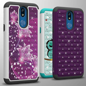 LG K40 / Xpression Plus 2 / Harmony 3 / Solo LTE Case - Rhinestone Bling Hybrid Phone Cover - Aurora Series