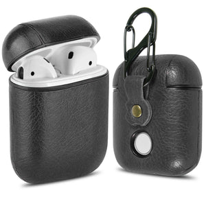 Leather AirPods Case Cover with Keychain Clip, Protective Hard Vegan Leather Cover for Apple AirPods 1 & 2 Charging Case