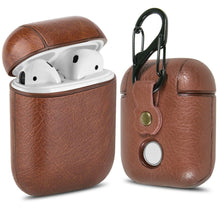 Load image into Gallery viewer, Leather AirPods Case Cover with Keychain Clip, Protective Hard Vegan Leather Cover for Apple AirPods 1 & 2 Charging Case
