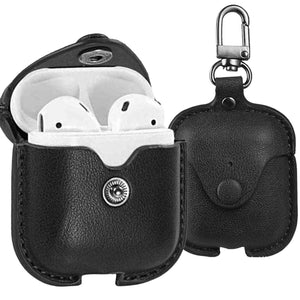 AirPods Case Cover, Leather Slim Fit Protective Soft Cover for Apple AirPods 1 & 2 Charging Case with Keychain
