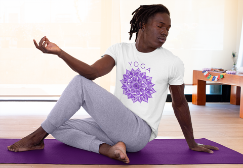 purple water colour color yoga t-shirt