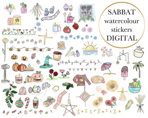 Classic Watercolour Digital Stickers Add-On