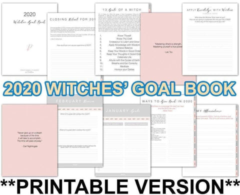 Witches' Goal Book 2020 PRINTABLE VERSION - Persephone's Boutique