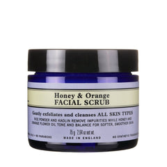 Organic honey and orange facial scrub for dry skin
