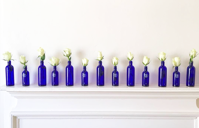 Neal's Yard Remedies Blue Bottles on Mantle