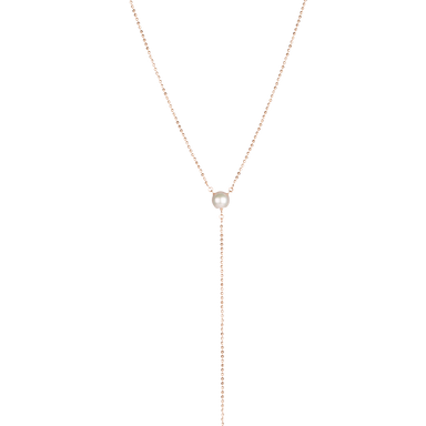 Necklace SEASIDE SANDY EVE in 18 KT Rose Gold with 2 White Pearls