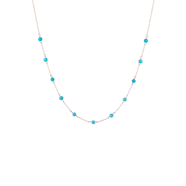 Necklace ARIA in 18 KT Rose Gold with Turquoises