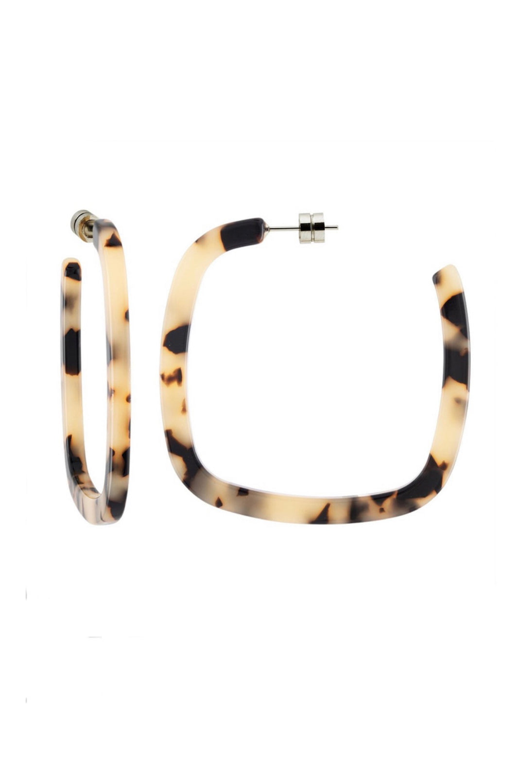 Large Square Hoops in Blonde Tortoise