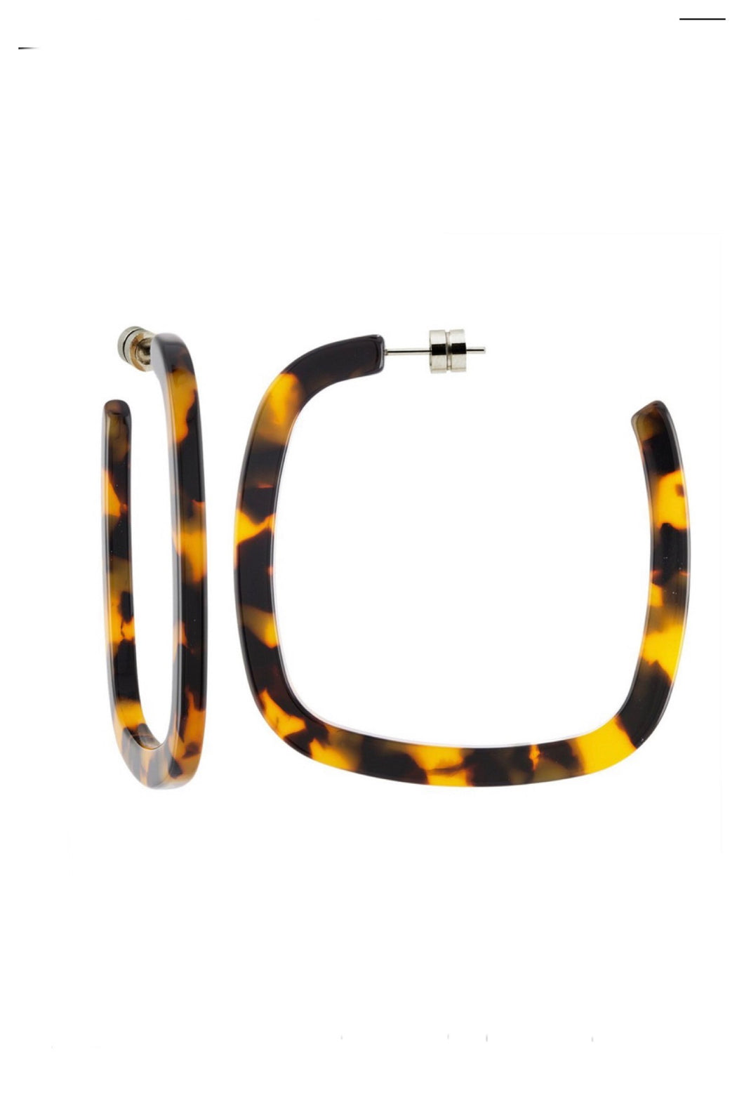 Large Square Hoops in Classic Tortoise