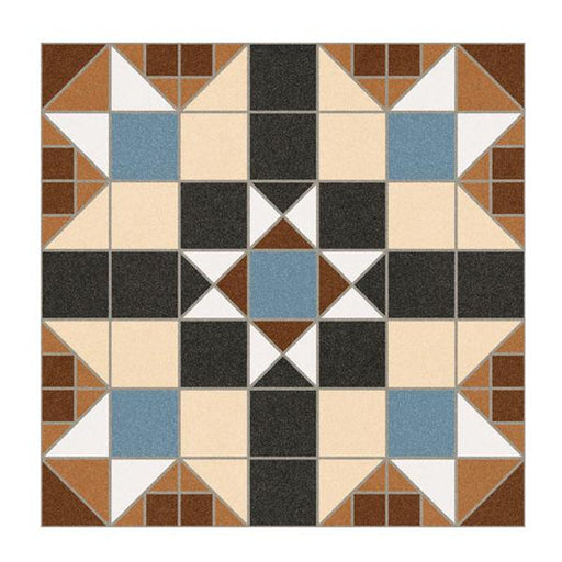 31.6x31.6cm Dorset Marron Pattern floor tile-Vives-ceramicplanet.co.uk