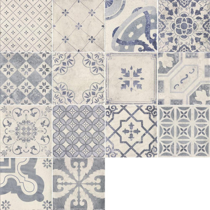 20x20cm Pavimento Antiqua mix pattern tile set-Mainzu Ceramica-ceramicplanet.co.uk