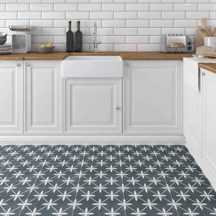 33x33cm Wicker Charcoal Grey Patterned floor tile GS-D4865-Canakkale Seramik - Kale-ceramicplanet.co.uk