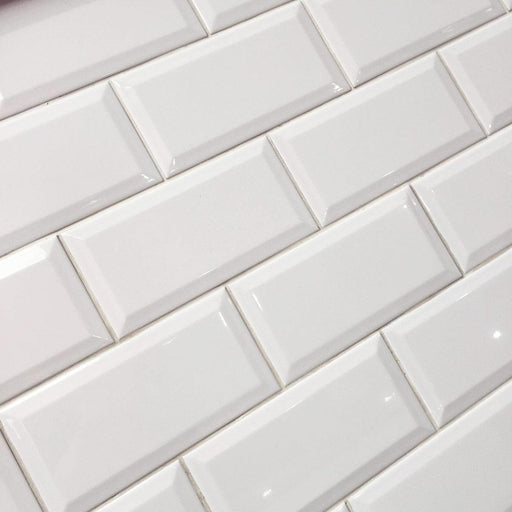 10x20cm Metro White Gloss Bevelled Brick tile-Karo Metro Ceramics-ceramicplanet.co.uk