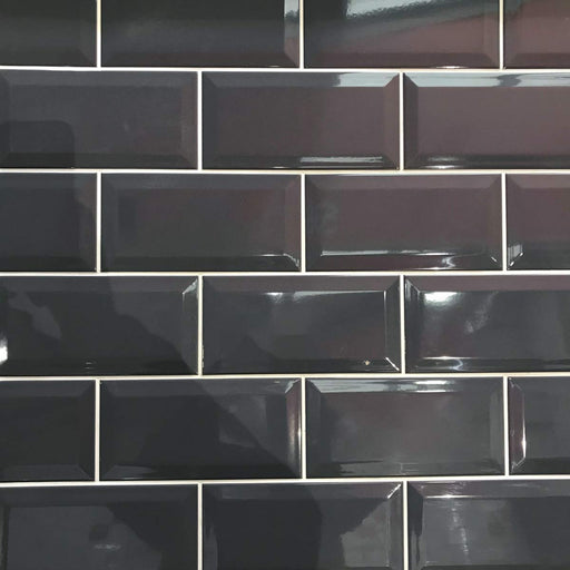 10x20cm Metro Dark Grey Gloss Bevelled Brick tile-Karo Metro Ceramics-Brooke ceramics ltd