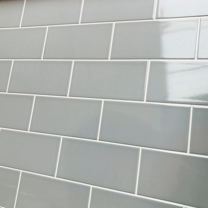 10x20cm Metro Grey Flat Smooth Brick gloss tile-Karo Metro Ceramics-ceramicplanet.co.uk