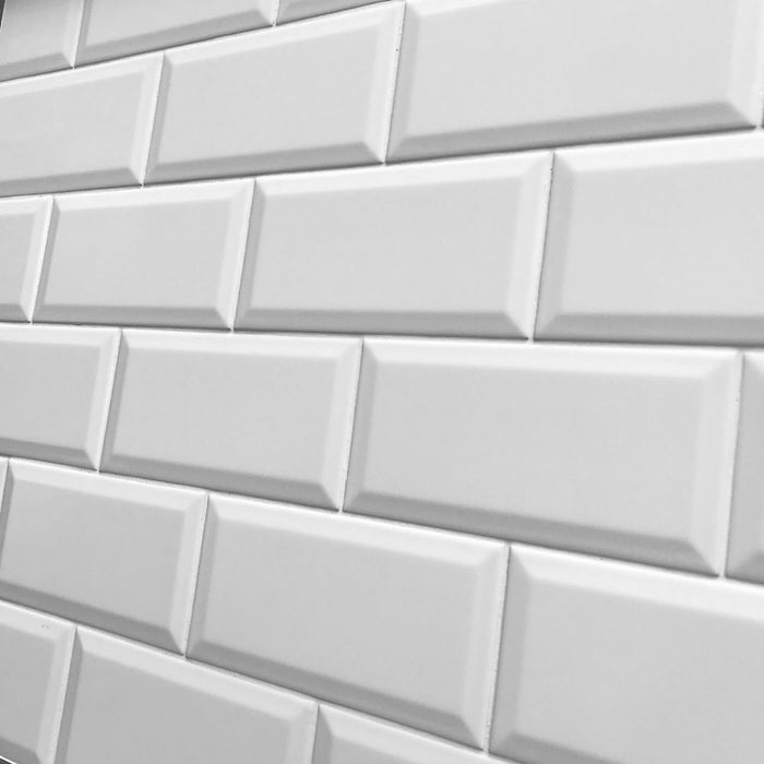 10x20cm Metro White Matt Bevelled Brick tile-Karo Metro Ceramics-Brooke ceramics ltd