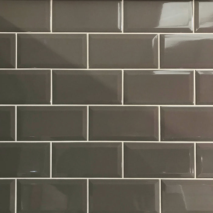 10x20cm Metro Dark Taupe Gloss Bevelled Brick tile-Karo Metro Ceramics-Brooke ceramics ltd