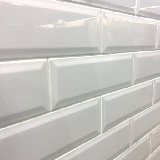 10x30cm Long Metro White Gloss Bevelled Brick tile-Demireks-ceramicplanet.co.uk
