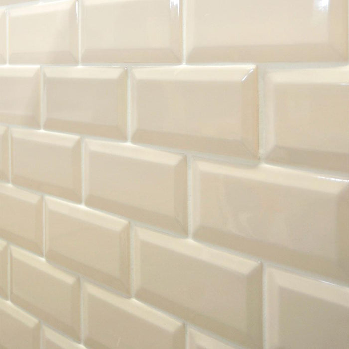 15x7.5cm Mini Metro Cream Bevel Brick wall tile-Fabresa-ceramicplanet.co.uk