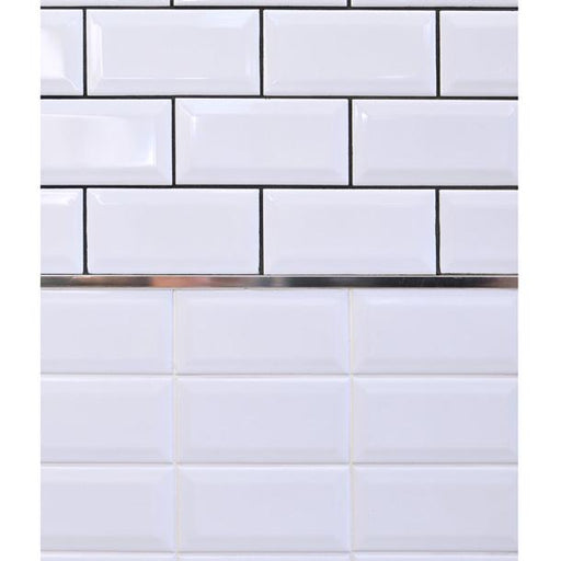 15x7.5cm Mini Metro White Bevel Brick wall tile-Fabresa-ceramicplanet.co.uk