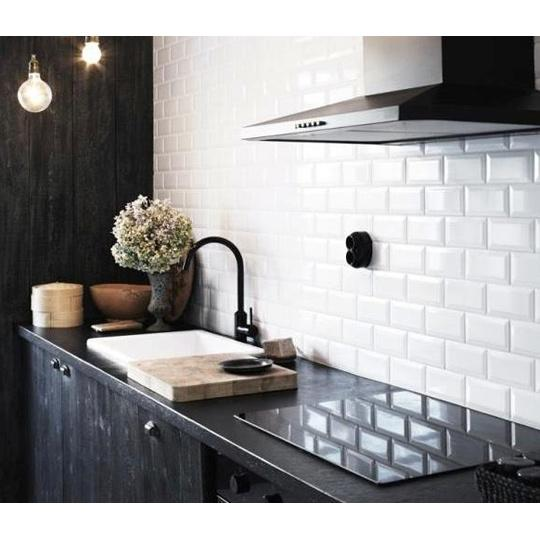 Metro White Gloss Bevelled Brick Wall Tile 10x20cm Brooke Ceramics Brooke Ceramics Ltd