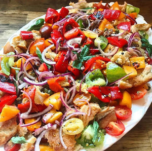 Panzanella salad with UK Heirloom tomatoes