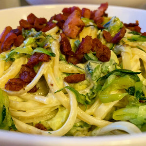 Courgette, lemon and crispy bacon spaghetti