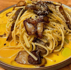 Oyster mushroom linguine with white truffle oil